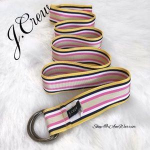J. Crew adjustable striped ribbon belt